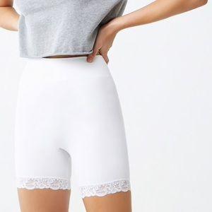 White Lace biker shorts